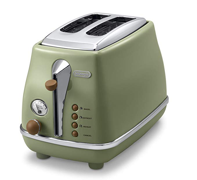 An image related to DeLonghi CTOV2003J-GR 900W Vintage Green 6-Mode Long Slot Toaster