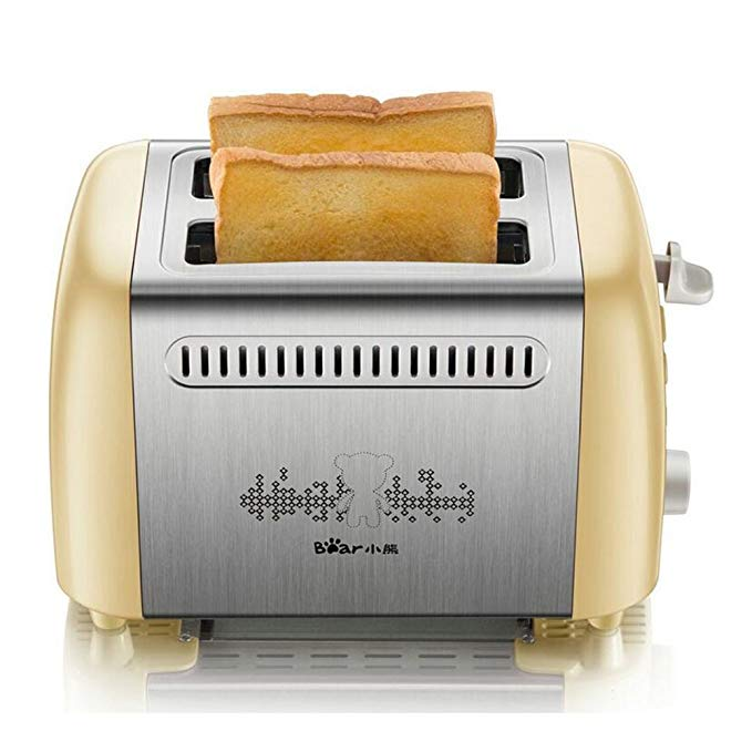 An image of BEAR 800W Stainless Steel 2-Slice Beige and Silver 6-Mode Wide Slot Toaster