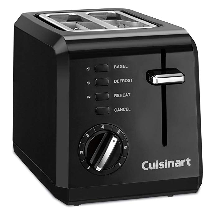An image of Cuisinart CPT-122 Plastic 2-Slice Black 7-Mode Compact Cool Touch Wide Slot Toaster