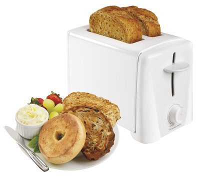 An image of Hamilton Beach 2-Slice White Cool Touch Toaster