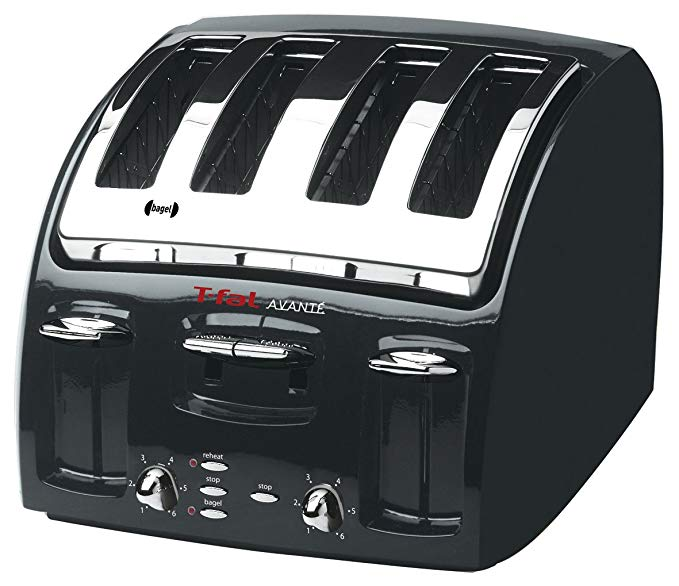 An image of T-Fal 4-Slice Classic Black 6-Mode Wide Slot Toaster | The Top Toasters