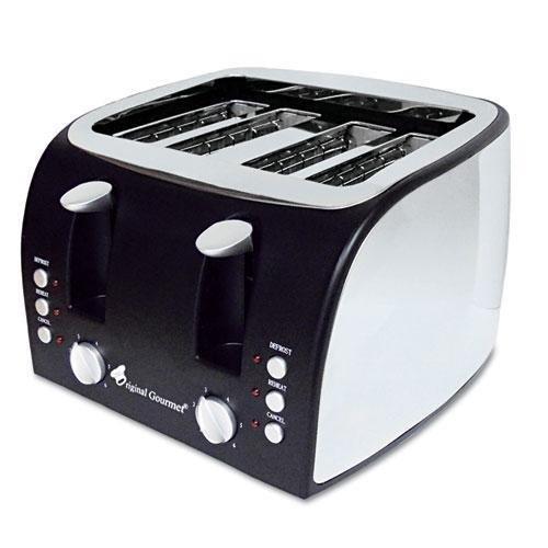An image of Original Gourmet Food Co. Stainless Steel 4-Slice Black Toaster