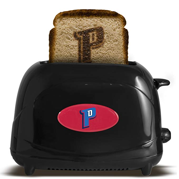 An image of Uncanny Brands ProEL-NBA-DP Detroit Pistons 2-Slice Compact Cool Touch Toaster