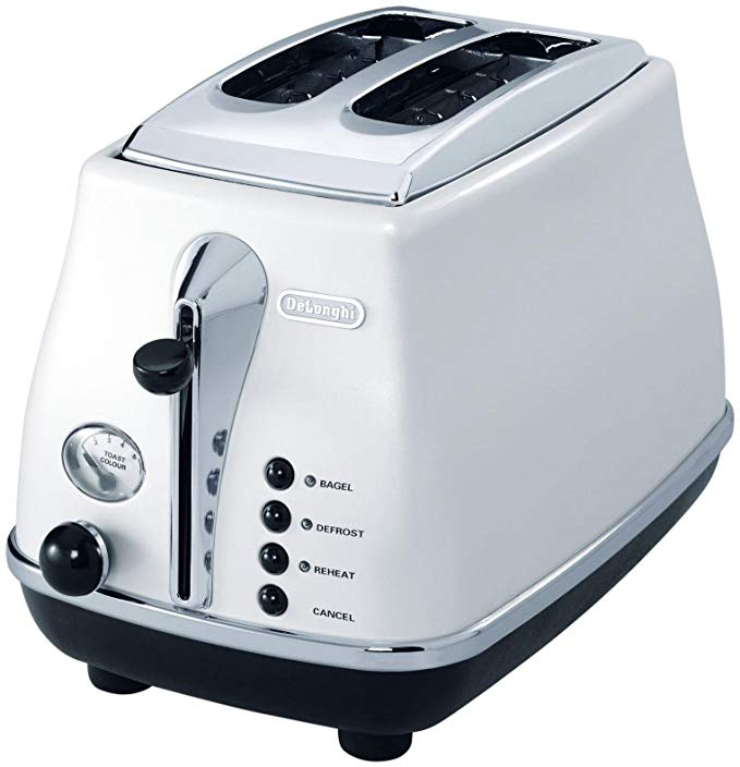 An image of DeLonghi Stainless Steel 2-Slice White 6-Mode Cool Touch Long Slot Toaster | The Top Toasters