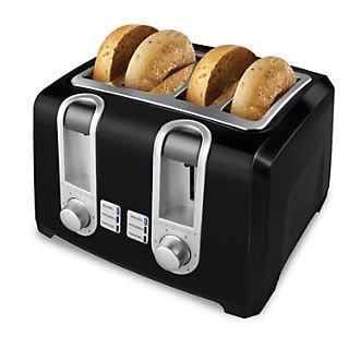 An image of BLACK+DECKER 850W 4-Slice Black Wide Slot Toaster