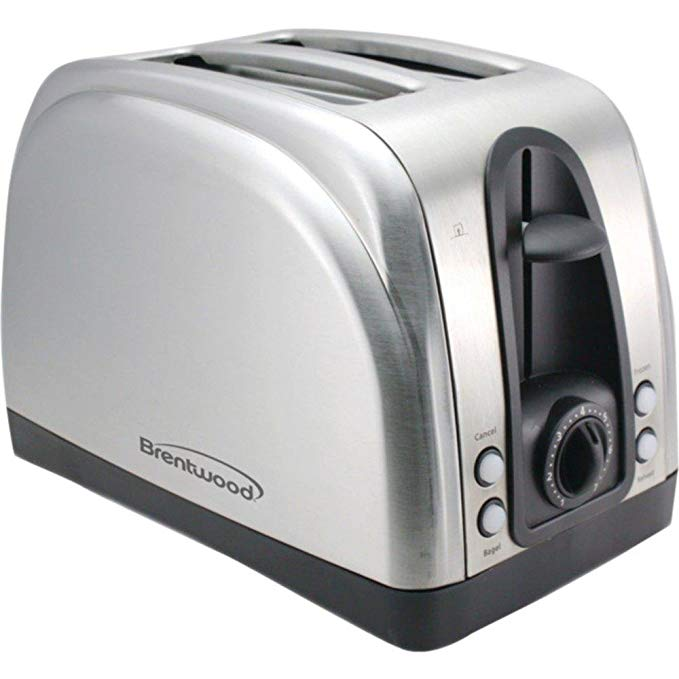 An image of Brentwood TS-225S 750W Stainless Steel 2-Slice 6-Mode Wide Slot Toaster