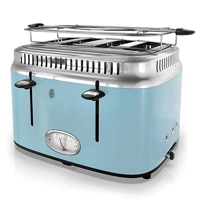 An image related to Russell Hobbs Stainless Steel 4-Slice Classic Blue 6-Mode Toaster