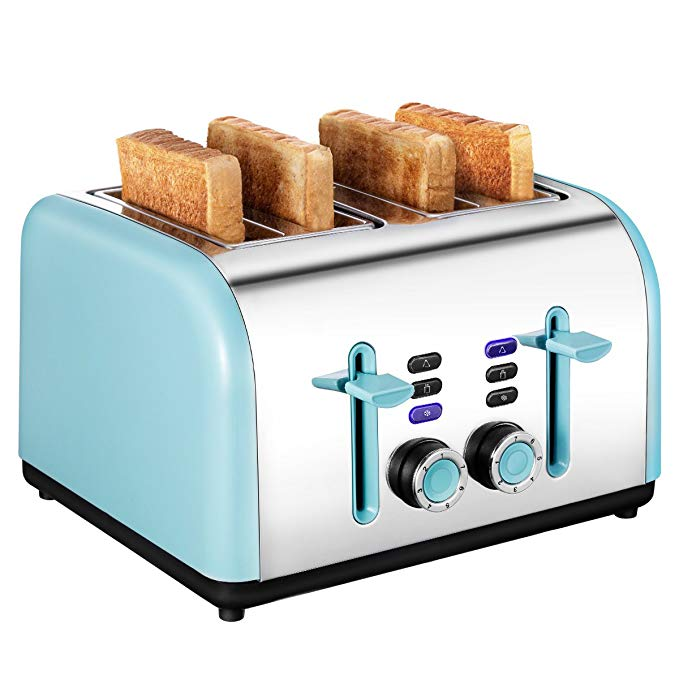 An image related to Keemo 1400W Stainless Steel 4-Slice Modern 7-Mode Compact Cool Touch Wide Slot Toaster