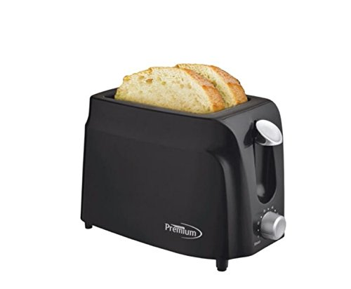An image of Premium PT230B 750W Plastic 2-Slice Black Compact Cool Touch Wide Slot Toaster
