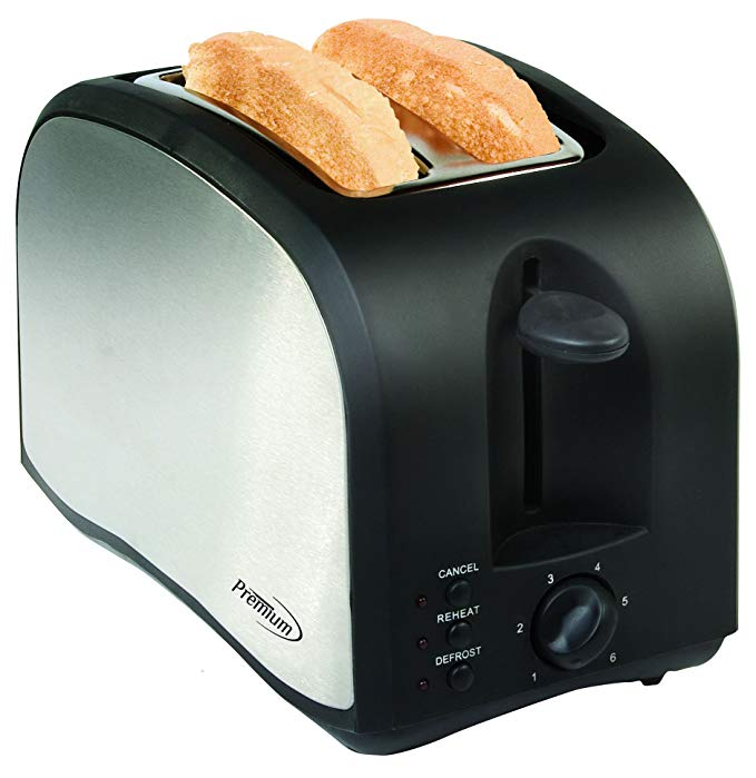 An image of Premium PT230 Plastic 2-Slice Black 6-Mode Compact Cool Touch Wide Slot Toaster