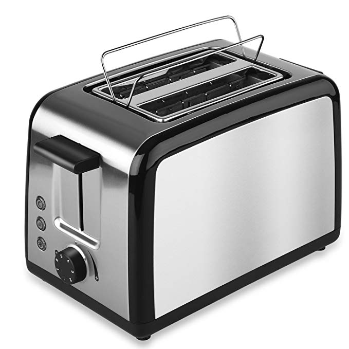 An image of ToBox Stainless Steel 2-Slice Silver 7-Mode Wide Slot Toaster
