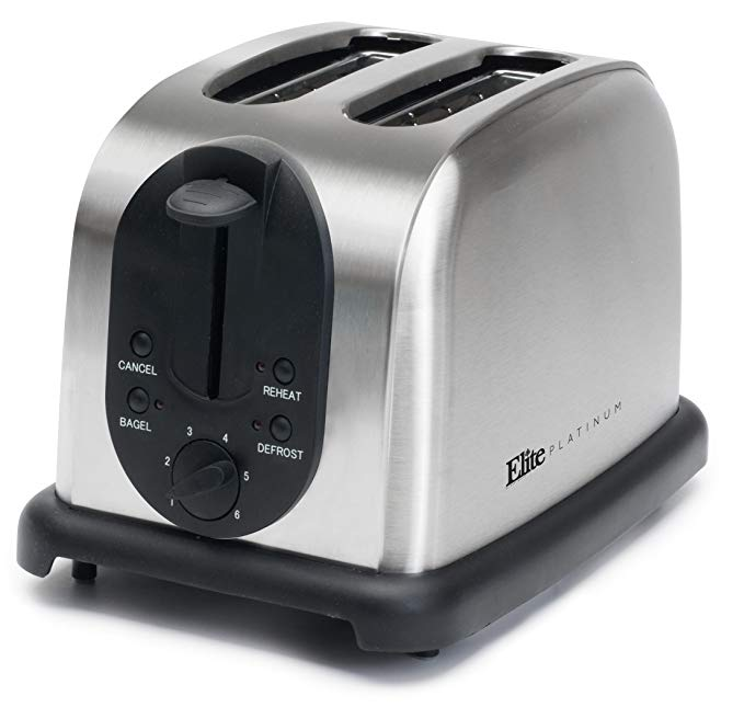 An image of Maxi-Matic 920W Stainless Steel 2-Slice 5-Mode Compact Wide Slot Toaster