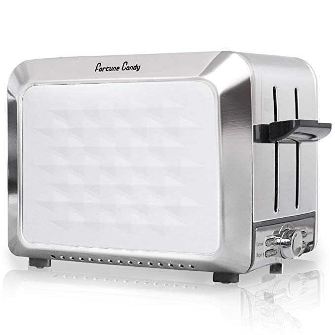 An image of Fortune Candy Stainless Steel 2-Slice White 7-Mode Wide Slot Toaster
