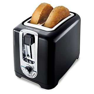 An image related to BLACK+DECKER 1200W 2-Slice Black Wide Slot Toaster