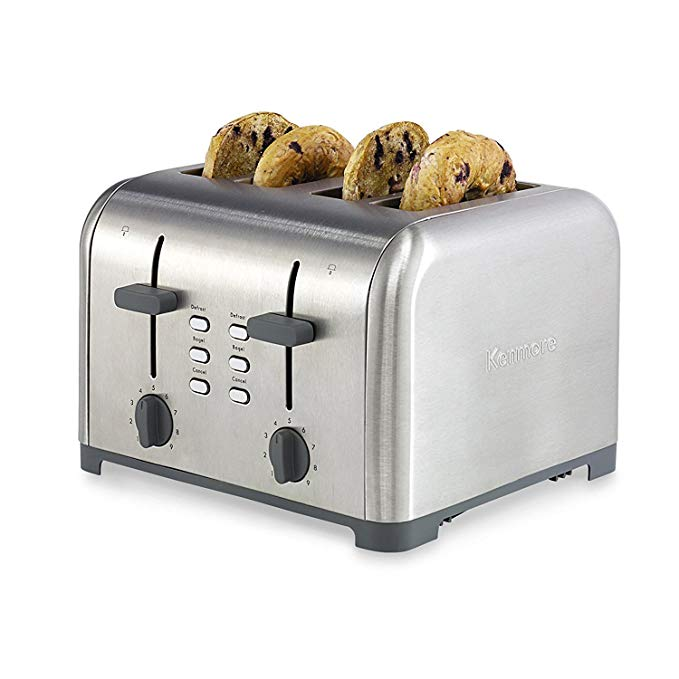 An image related to Kenmore 40605 Stainless Steel 4-Slice 2-Mode Wide Slot Toaster