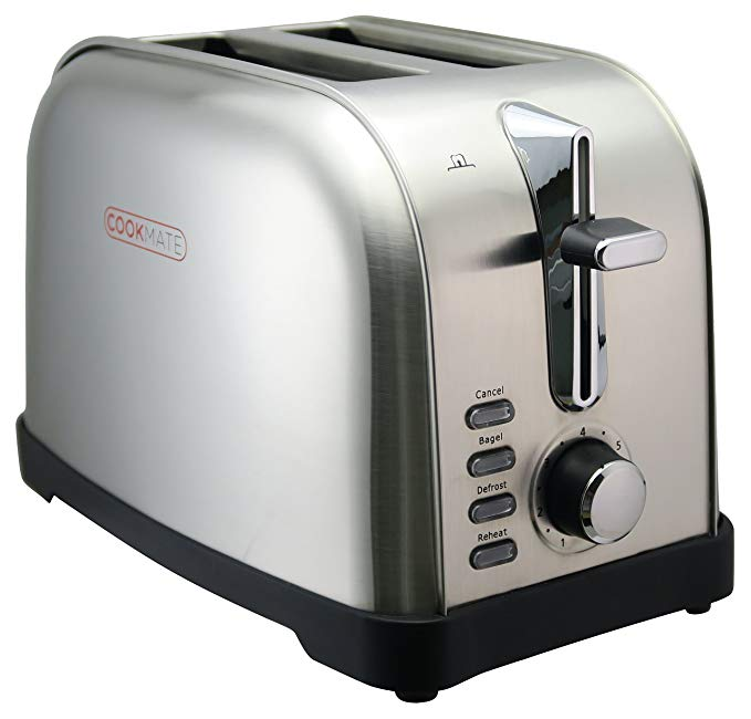 An image of Cookmate 750W Stainless Steel 2-Slice Classic 7-Mode Wide Slot Toaster