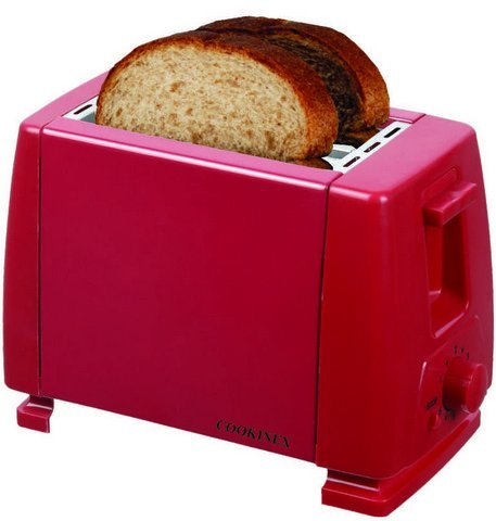 An image of Cookinex ED-326B Stainless Steel 2-Slice Red Toaster