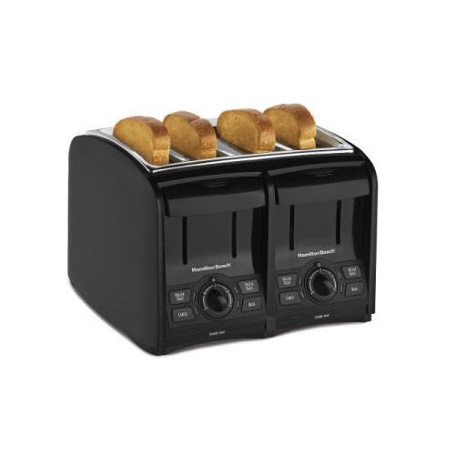 An image of Hamilton Beach 4-Slice Black Cool Touch Wide Slot Toaster