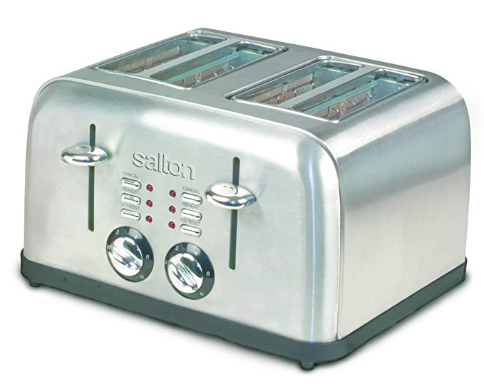An image of Salton Stainless Steel 4-Slice Metal Wide Slot Toaster