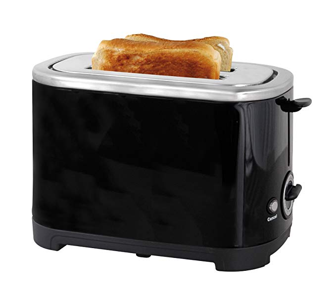An image of Lloytron 700W Stainless Steel 2-Slice Black Cool Touch Toaster