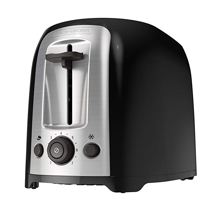 An image of BLACK+DECKER Stainless Steel 2-Slice Classic Black 7-Mode Wide Slot Toaster