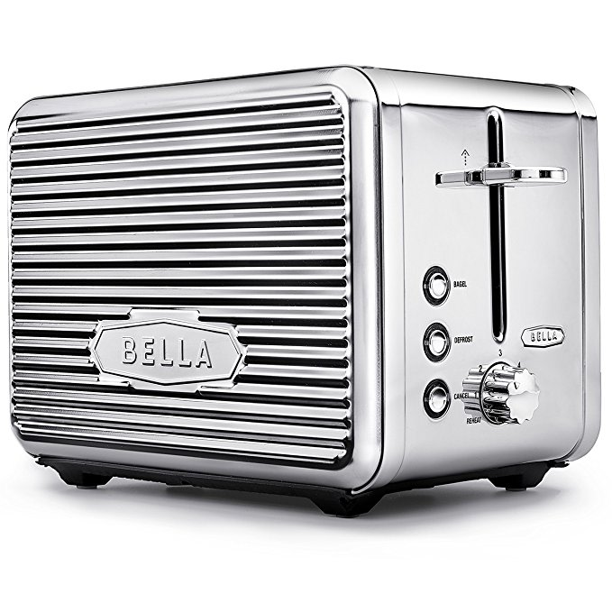 An image related to BELLA 900W Stainless Steel 2-Slice Chrome 6-Mode Wide Slot Toaster