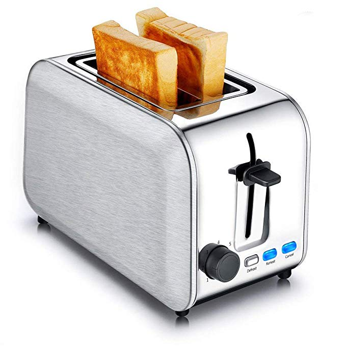 An image of CUSINAID 750W Stainless Steel 2-Slice Classic Silver 7-Mode Compact Wide Slot Toaster