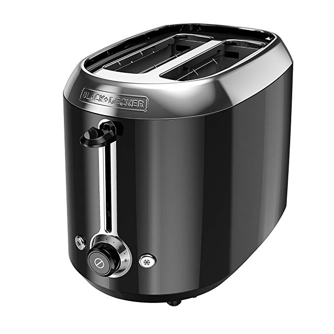 An image of BLACK+DECKER 850W Stainless Steel 2-Slice Black 7-Mode Wide Slot Toaster