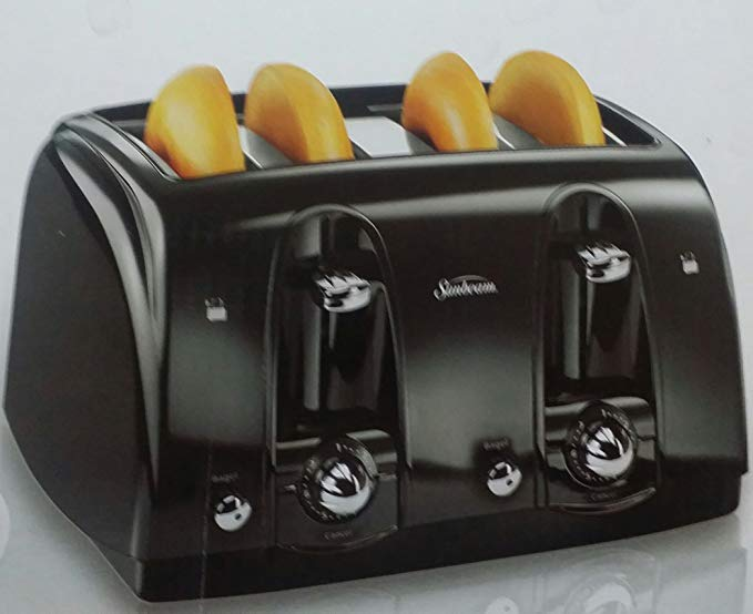 An image related to Sunbeam 4-Slice Black Compact Wide Slot Toaster
