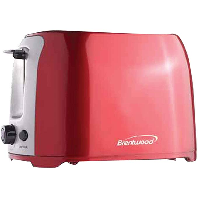 An image of Brentwood TS-292R 800W Stainless Steel 2-Slice Red 7-Mode Cool Touch Wide Slot Toaster