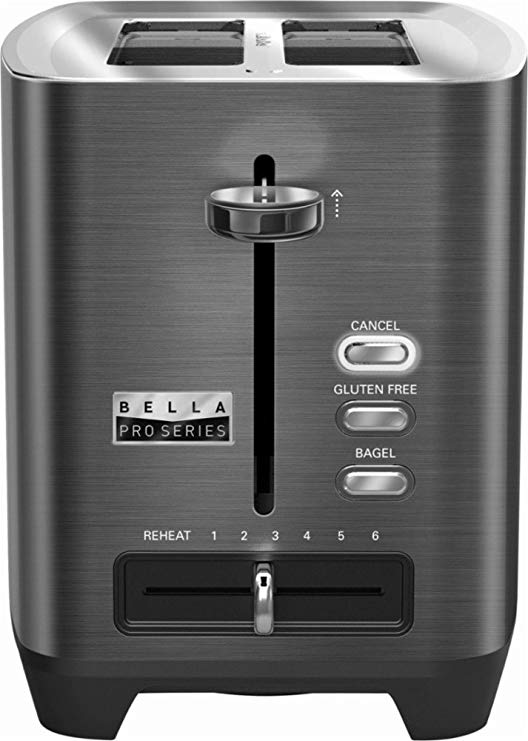 An image related to BELLA Stainless Steel 2-Slice Black 6-Mode Wide Slot Toaster