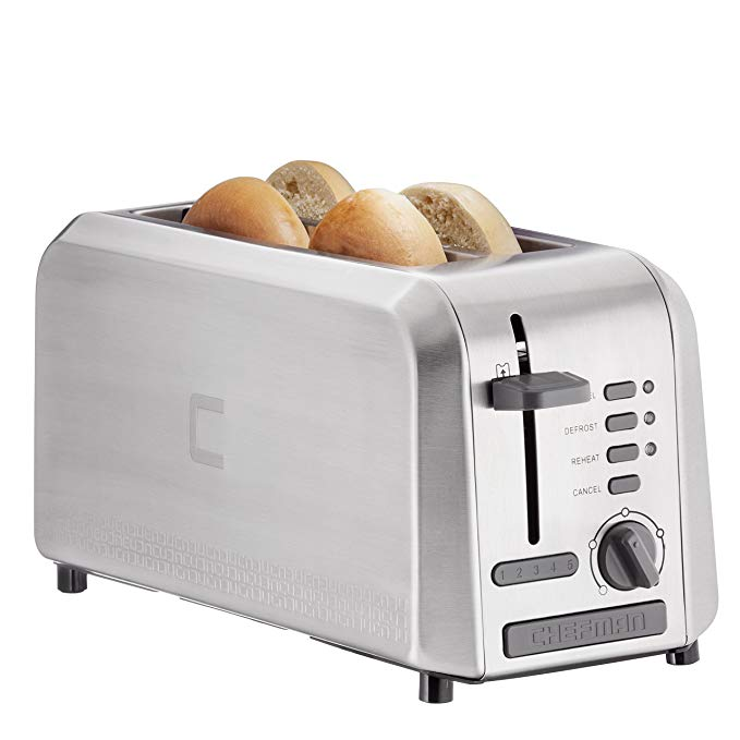 An image of Chefman Stainless Steel 4-Slice 5-Mode Long Slot Toaster