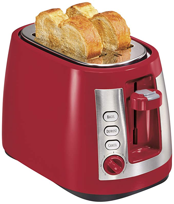 An image of Hamilton Beach 2-Slice Red Wide Slot Toaster