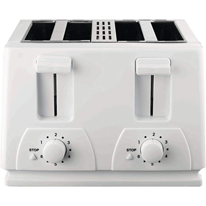 An image of Brentwood TS-264 Plastic 4-Slice White 6-Mode Toaster