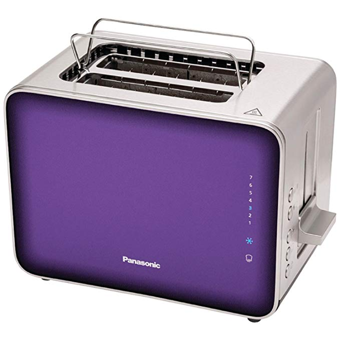 An image of Panasonic 900W Stainless Steel 2-Slice Modern Violet 7-Mode Cool Touch Wide Slot Toaster