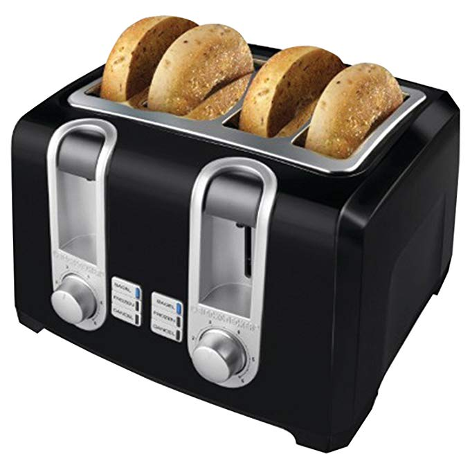 An image of BLACK+DECKER 1400W 4-Slice Black 6-Mode Cool Touch Wide Slot Toaster