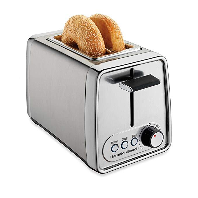 An image of Hamilton Beach 2-Slice Modern Chrome Wide Slot Toaster
