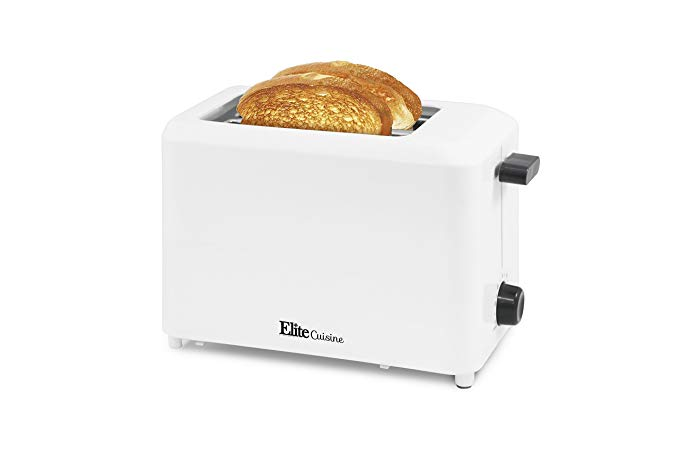 An image of Elite Cuisine 2-Slice White 6-Mode Cool Touch Wide Slot Toaster
