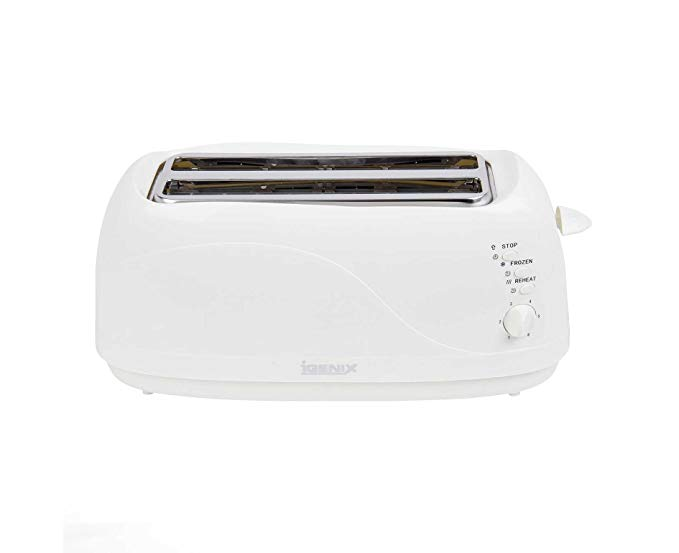 An image related to Igenix 1300W 4-Slice White Long Slot Toaster
