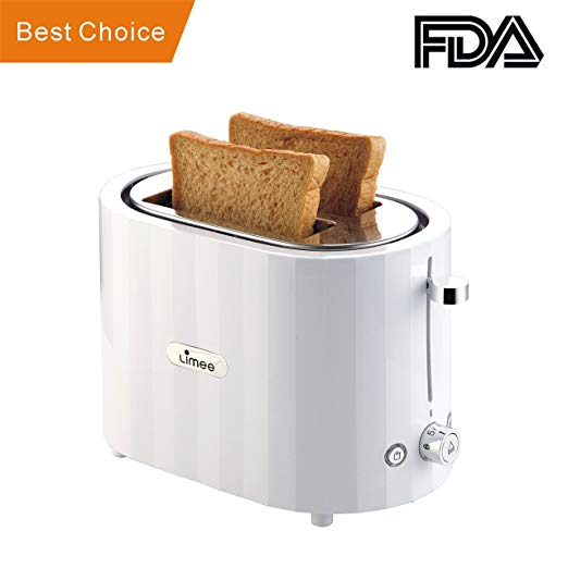 An image of LIMEE TR0803 Stainless Steel 2-Slice White Compact Wide Slot Toaster