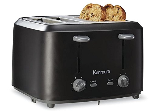 An image of Kenmore Stainless Steel 4-Slice Classic Black Toaster
