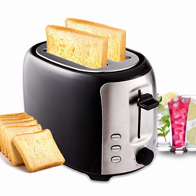 An image of Flagup 800W Stainless Steel 2-Slice Modern 7-Mode Cool Touch Wide Slot Toaster