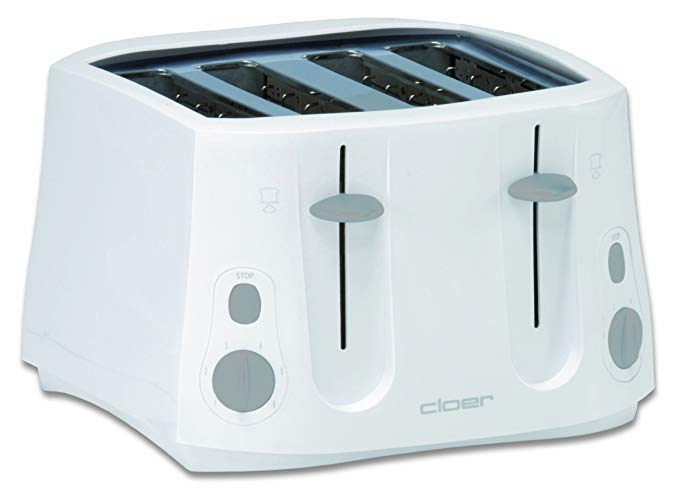 An image of Cloer 3321NA 4-Slice Modern White Cool Touch Toaster