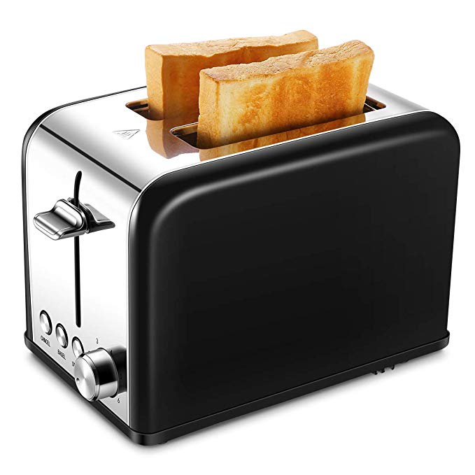 An image of Keemo Stainless Steel 2-Slice Black 6-Mode Compact Wide Slot Toaster