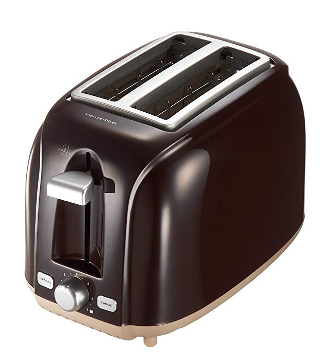 An image of Recolte RPT-1BR 800W Bitter Brown Wide Slot Toaster