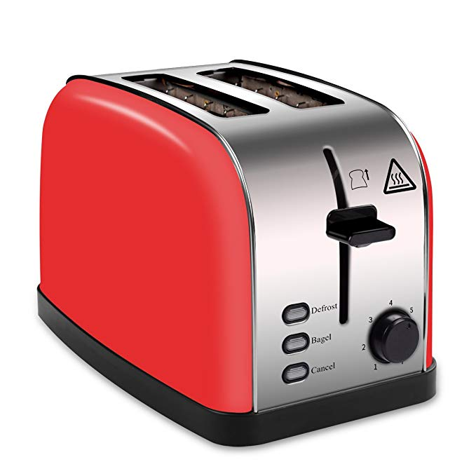 An image of HOPPIC 850W Stainless Steel 2-Slice Red 7-Mode Wide Slot Toaster