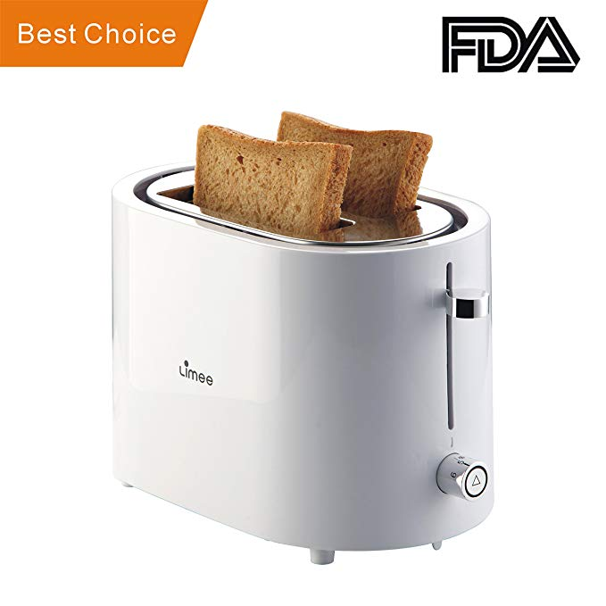 An image of LIMEE TR0723 Stainless Steel 2-Slice White Compact Wide Slot Toaster