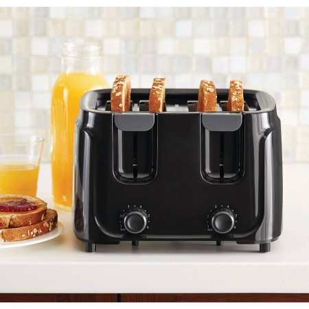 An image of Mainstays 4-Slice Black 6-Mode Toaster