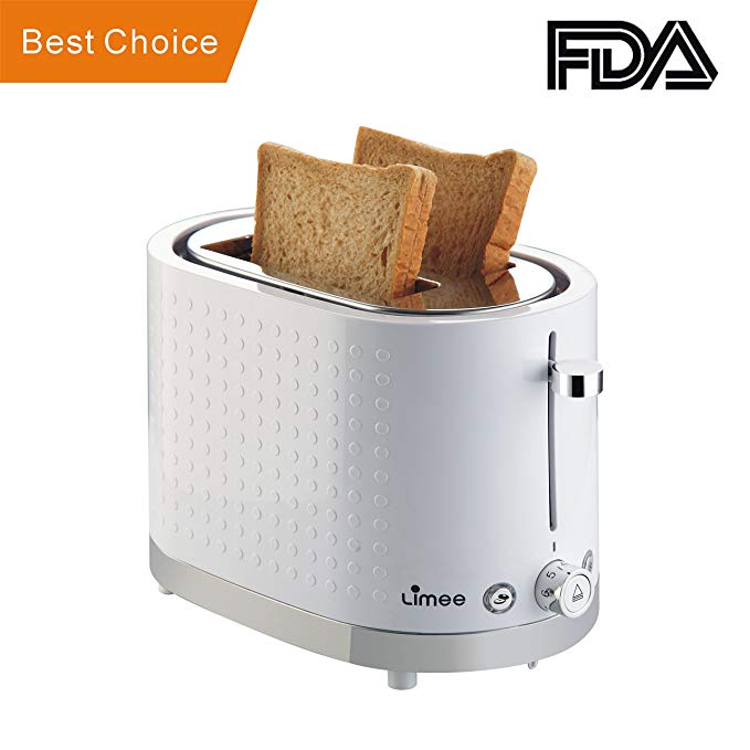 An image of LIMEE TR0113 Stainless Steel 2-Slice White Compact Wide Slot Toaster