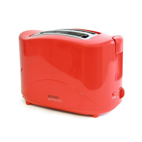 An image of Kitchen Perfected E2012Rd 750W 2-Slice Red 7-Mode Cool Touch Toaster